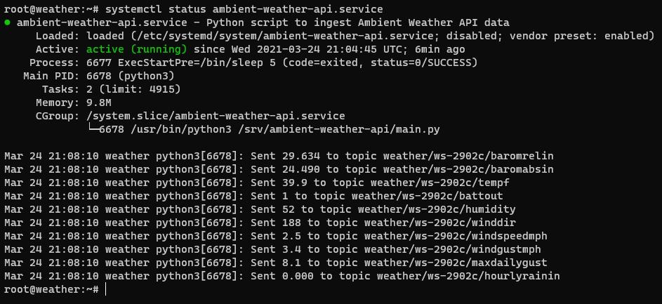 Ambient Weather API service status