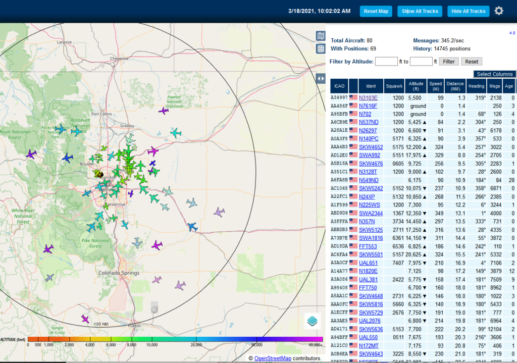 piaware ADS-B zoomed out KDEN