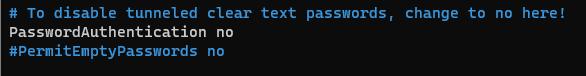 disable sshd password authentication