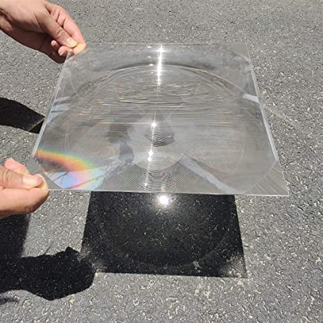 large fresnel lens focused on pavement