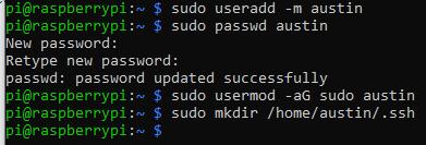 sudo useradd