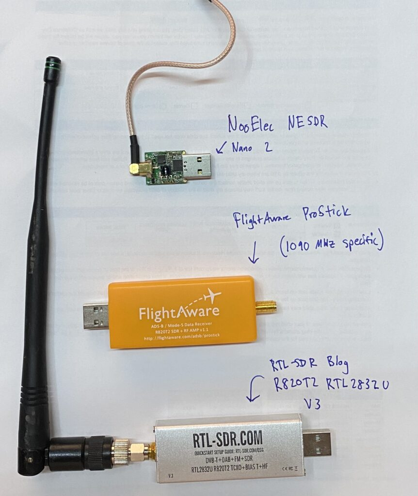 picture showing 3 SDR devices - NooElec NESDR Nano 2, FlightAware ProStick, RTL-SDR Blog R820T2 RTL2832U V#