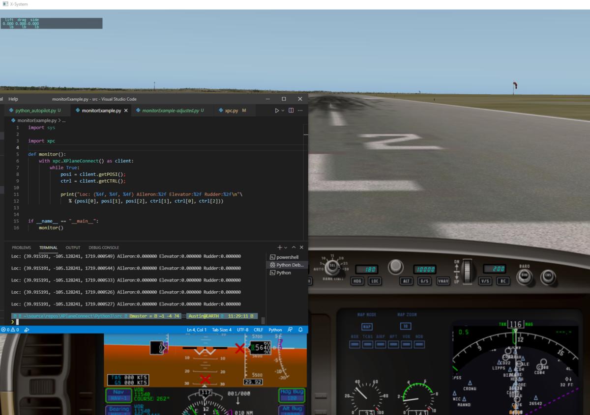 x-plane python autopilot code beginning